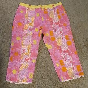 Vtg Lilly Pulitzer Pink Cotton Capris sz 12